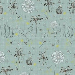 Hand Sketched Flowers on Green Texture
