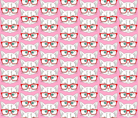 Kitten Hipster Pink fabric by curious_nook on Spoonflower - custom fabric