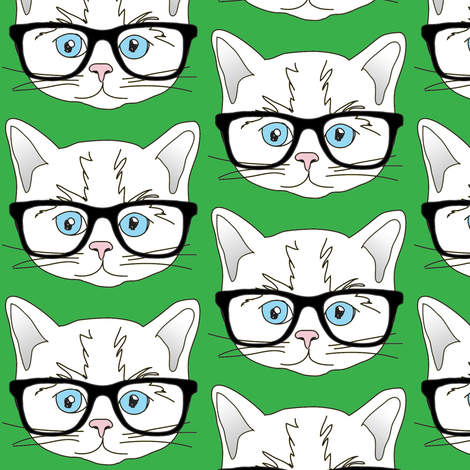 Kitten Hipster Green fabric by curious_nook on Spoonflower - custom fabric