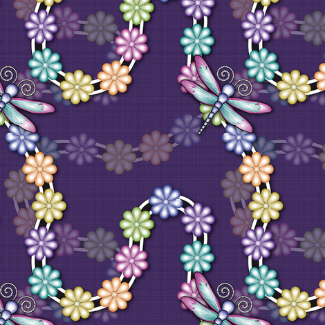 Flowers_Dragonfly_purple fabric by vannina on Spoonflower - custom fabric