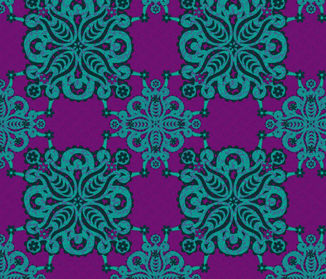 damask_2_teal_purple fabric by glimmericks on Spoonflower - custom fabric