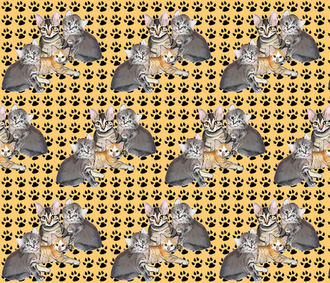 kittens_and_paws fabric by dogdaze_ on Spoonflower - custom fabric