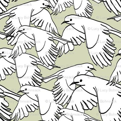 Flock of Birds Sage Gray