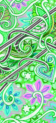The Crisp, Fresh Air of Early Spring (green zig zag floral stripe)