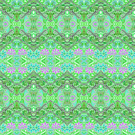 The Crisp, Fresh Air of Early Spring (green zig zag floral stripe) fabric by edsel2084 on Spoonflower - custom fabric