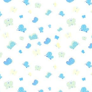 Blue And Yellow Butterfly Meadow Small Print