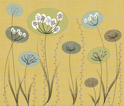 Natural Modern Flowers on Gold
