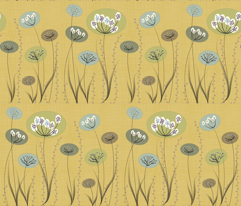 Natural Modern Flowers on Gold fabric by anissa_craig on Spoonflower - custom fabric