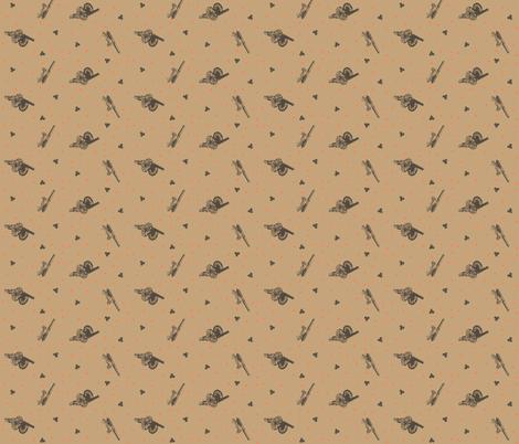 Roaring Meg Cannon Polka: brown fabric by cherryandcinnamon on Spoonflower - custom fabric