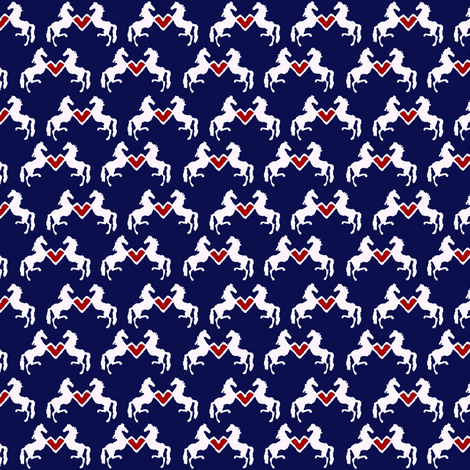Delft Rearing Hearts - navy background fabric by ragan on Spoonflower - custom fabric