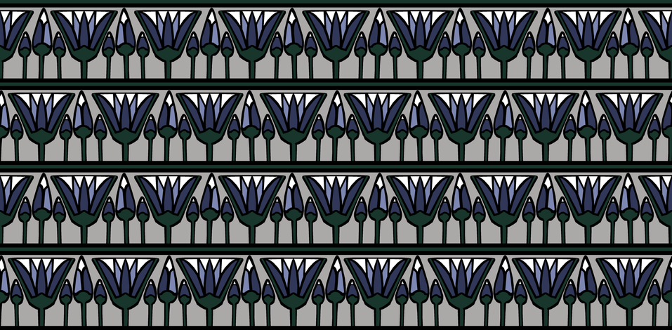 Blue Lotus on Silver fabric by pond_ripple on Spoonflower - custom fabric
