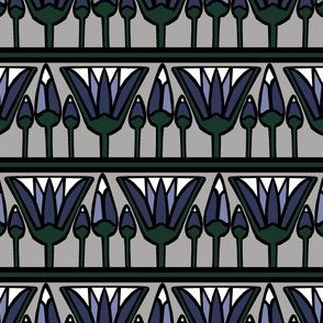 Blue Lotus on Silver