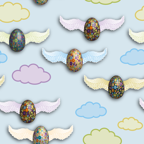 Flying_Eggs fabric by vannina on Spoonflower - custom fabric