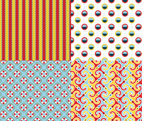 sailing palette coordinates fabric by sef on Spoonflower - custom fabric