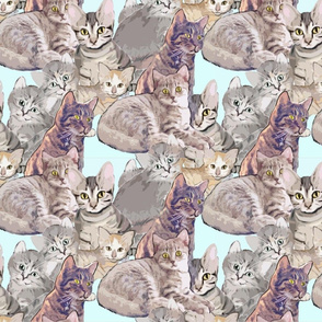Cats and Kittens fabric mural