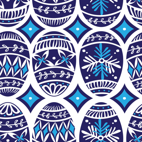 Painted Eggs in Blue fabric by sketchcreative on Spoonflower - custom fabric