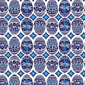 Painted Eggs in Blue