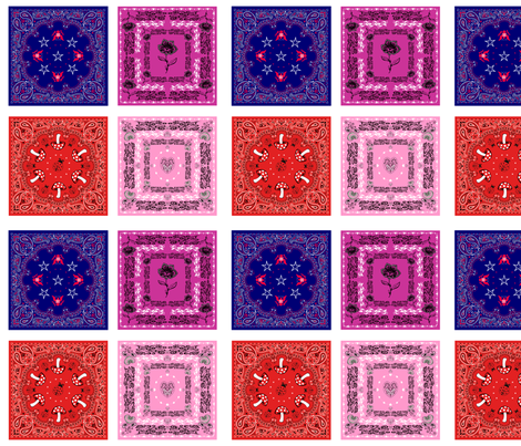 bandana quilt swatches - 4 designs fabric by krs_expressions on Spoonflower - custom fabric