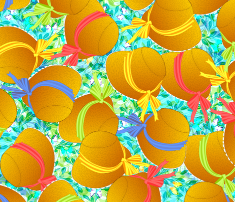 A Bevy of Beautiful Bonnets Ready for a Romp in the Garden fabric by glimmericks on Spoonflower - custom fabric