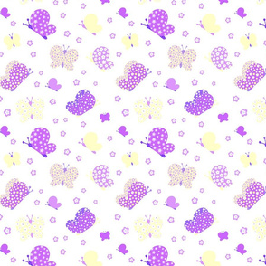 Purple And Yellow Butterfly Meadow Medium Print