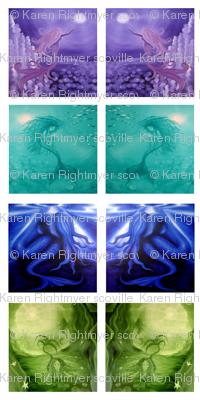 mermaid quilt swatches - 4 designs