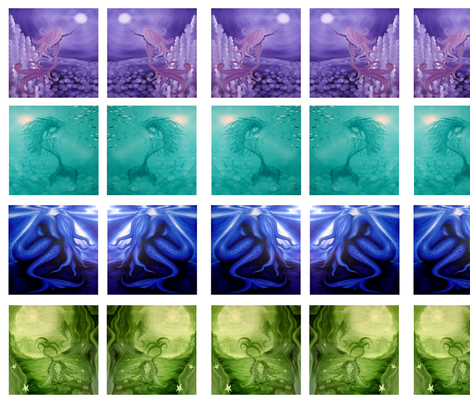 mermaid quilt swatches - 4 designs fabric by krs_expressions on Spoonflower - custom fabric