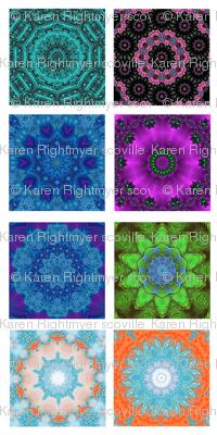kaleidoscope quilt swatches - 8 designs