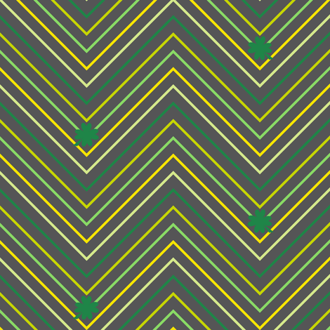 Chevron Mini Striped Shamrocks! - Charcoal - Luck Be With You - © PinkSodaPop 4ComputerHeaven.com fabric by pinksodapop on Spoonflower - custom fabric