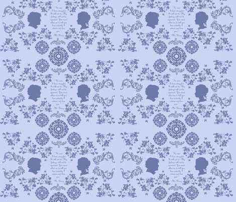 Mr. Darcy's Proposal toile in blue fabric by magneticcatholic on Spoonflower - custom fabric