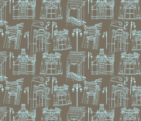 Window on to the Arts - Grey Blue fabric by cherryandcinnamon on Spoonflower - custom fabric