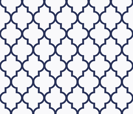 Navy and White Ogee  fabric by willowlanetextiles on Spoonflower - custom fabric