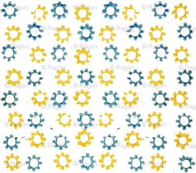Inkblot Stars - blue and yellow