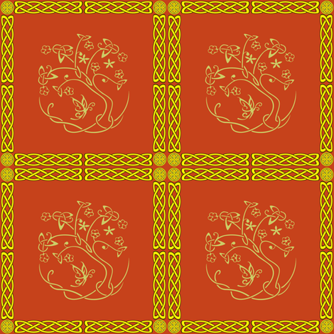celtic tomato red tree fabric by krs_expressions on Spoonflower - custom fabric