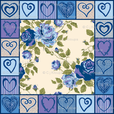 Hearts and Flowers Quilt (Blue)