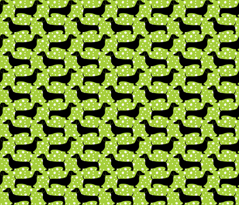 Polka Dachshunds (Green and Black) fabric by robyriker on Spoonflower - custom fabric