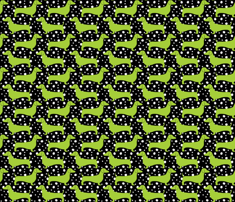 Polka Dachshunds (Black and Green) fabric by robyriker on Spoonflower - custom fabric