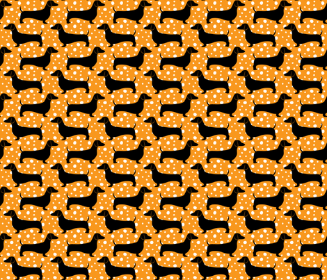 Polka Dachshunds (Orange and Black) fabric by robyriker on Spoonflower - custom fabric