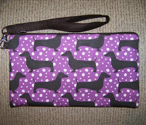 Polka Dachshunds (Purple and Black)