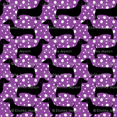 Polka Dachshunds (Purple and Black)