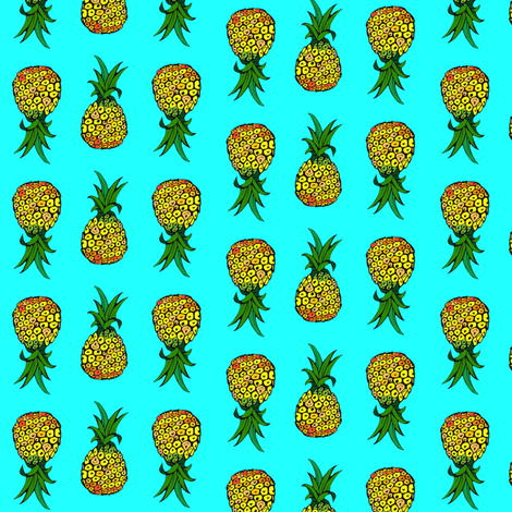 Pineapples on Turquoise fabric by theartwerks on Spoonflower - custom fabric