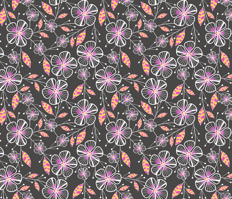 Bouquet Flowers (Charcoal) fabric by robyriker on Spoonflower - custom fabric