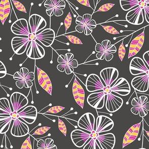 Bouquet Flowers (Charcoal)