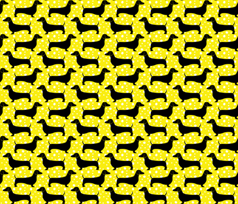 Polka Dachshunds (Yellow and Black) fabric by robyriker on Spoonflower - custom fabric
