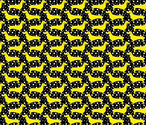 Polka Dachshunds (Black and Yellow) fabric by robyriker on Spoonflower - custom fabric