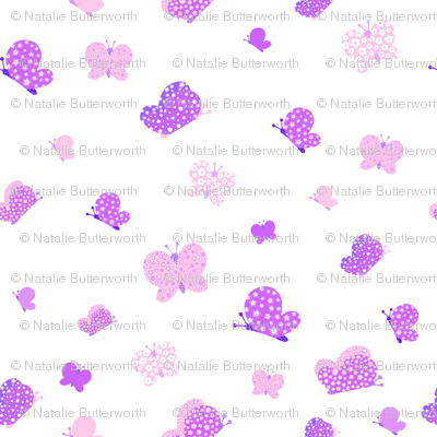 Pink And Purple Butterfly Meadow Small Print