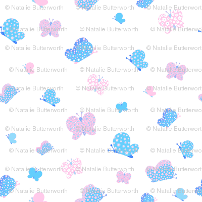 Pink And Blue Butterfly Meadow Small Print