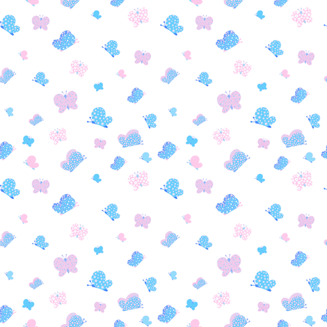 Pink And Blue Butterfly Meadow Small Print fabric by free_spirit_designs on Spoonflower - custom fabric