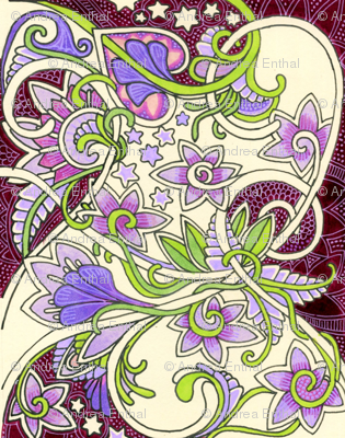 When Little Girls Play Fairy (a hearts and star and violet abstract)