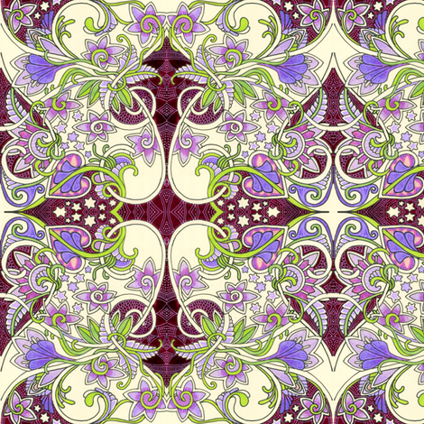 When Little Girls Play Fairy (a hearts and star and violet abstract) fabric by edsel2084 on Spoonflower - custom fabric