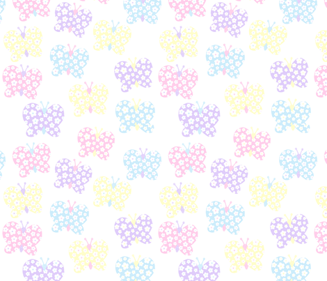 Soft Pastel Flower Butterfly fabric by free_spirit_designs on Spoonflower - custom fabric